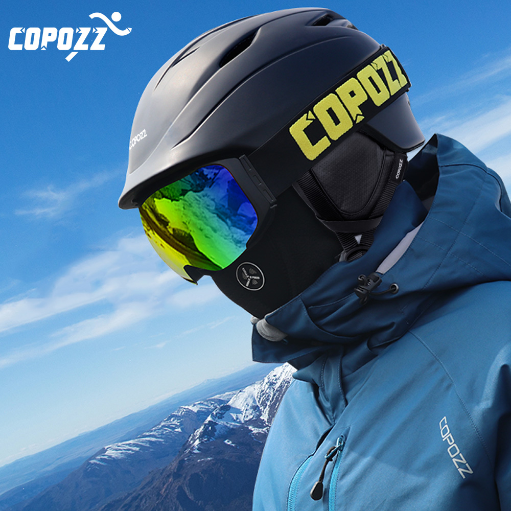 COPOZZ Brand Snowboard Ski Helmet Safety Integrally-molded Breathable Helmet Men Women Skateboard Skiing Helmet Size 55-61cm