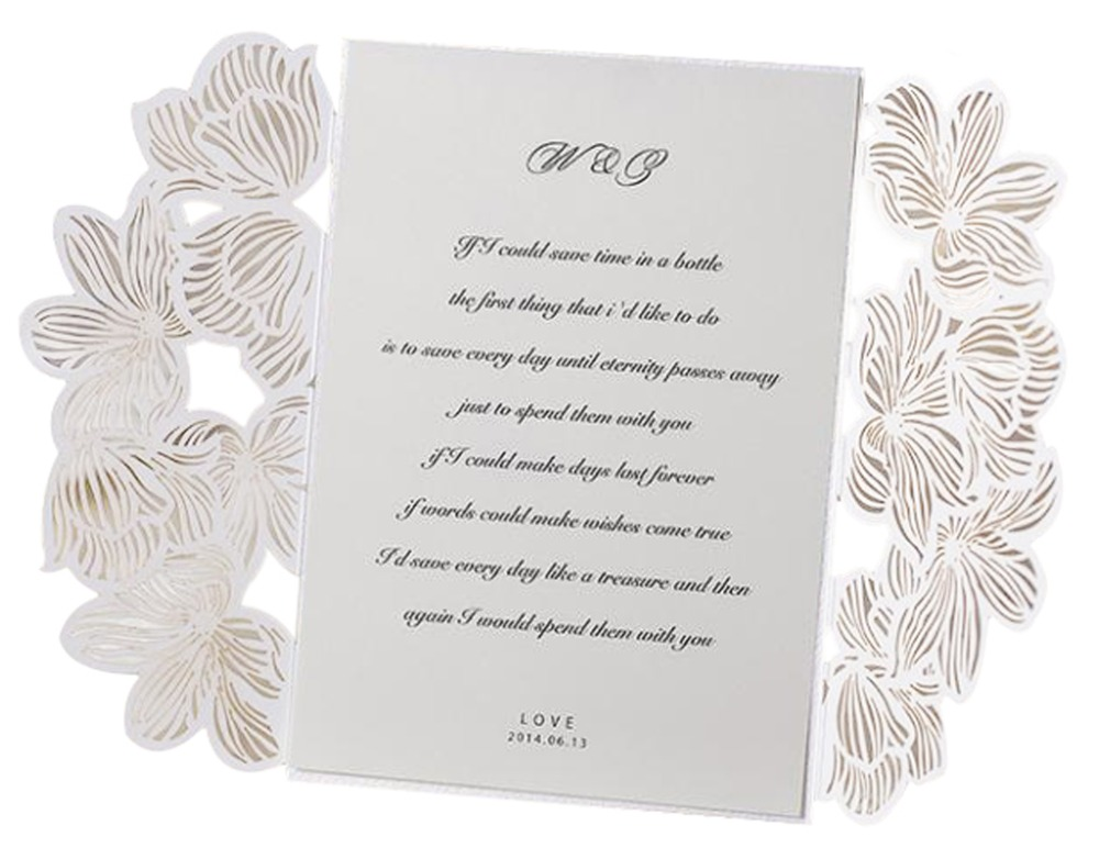 lace hollow white folded wedding invitations blank inner