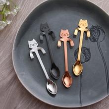 Кофейная и чайная ложка мини-кошка с длинной ручкой креативная ложка для питья пищевая кухонная посуда из нержавеющей стали