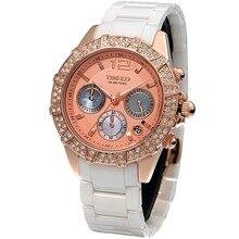 New Time100 Luxury Brand Women Diamond Three subdial Multifunction High tech Ceramic Ladies Dress Quartz Watches