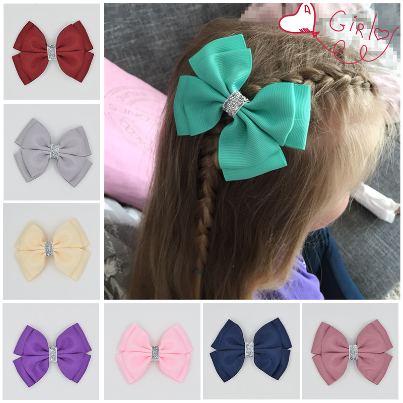 Handmade Ribbon barrettes Clips Boutique girl women Shining bling Hair Bows With Clip Hairpins For Kids Girl Hair Accessories 1pcs 4 7 inches boutique kids hairpins headwear big hair clips with ribbon bows for girls babies barrettes children accessories