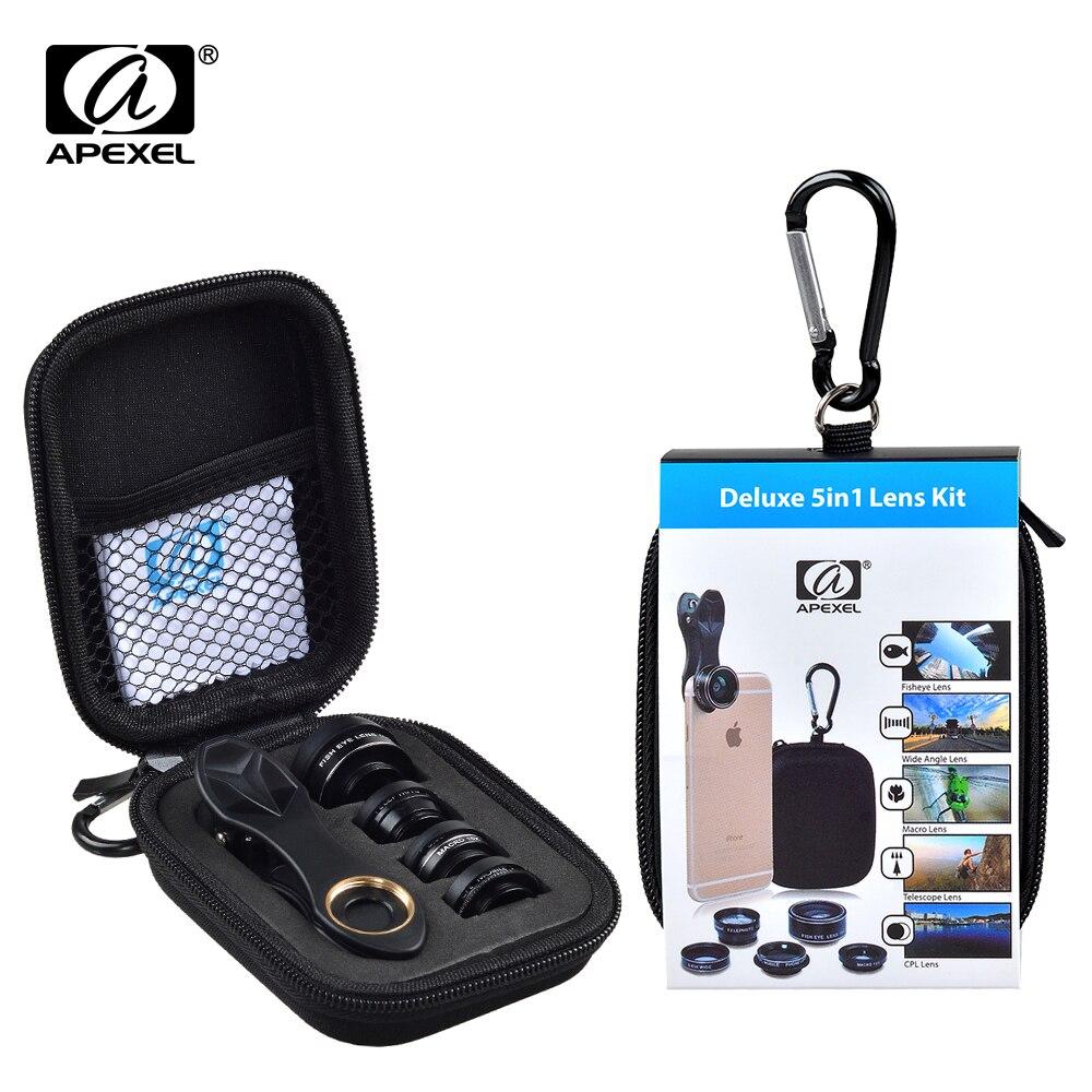 Apexel 5 in 1 HD Camera Lens Kit Fisheye Lens + 0.63x Groothoek + 15x Macro Lens + 2X telelens + CPL Lens voor iPhone Samsung DG5