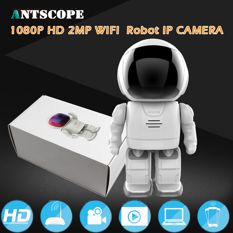 Robot 1080P 2MP IP Camera WIFI Clock Network CCTV HD Baby Monitor Remote Control Home Security Night Vision Two Way Audio keyshare dual bulb night vision led light kit for remote control drones