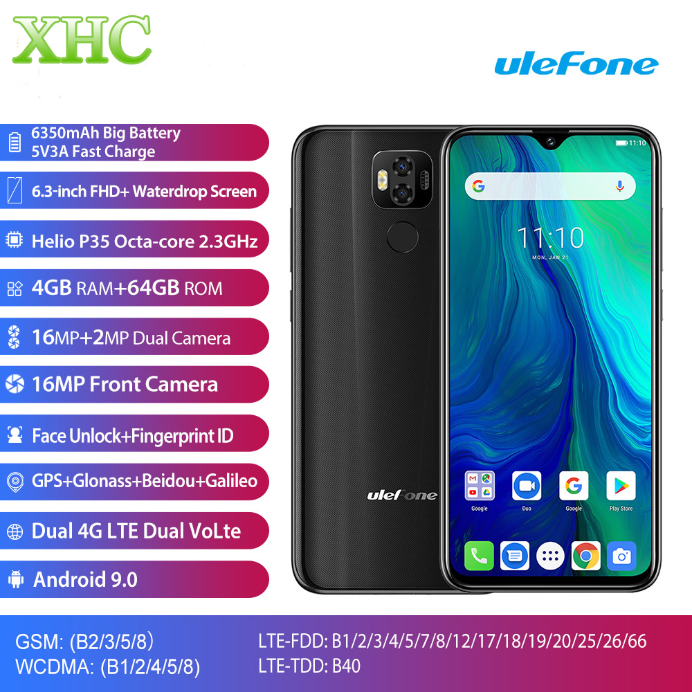 Téléphone portable mondial Ulefone Power 6 Android 9.0 6.3 ''4 GB 64GB Helio P35 Octa Core double SIM 16MP Cam 6350mAh batterie Smartphone