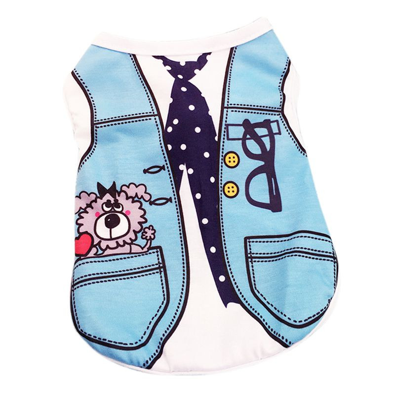 Hot Sale S code summer dog fake two coats cotton tie shirt vest dog clothes fashion pet T-shirt