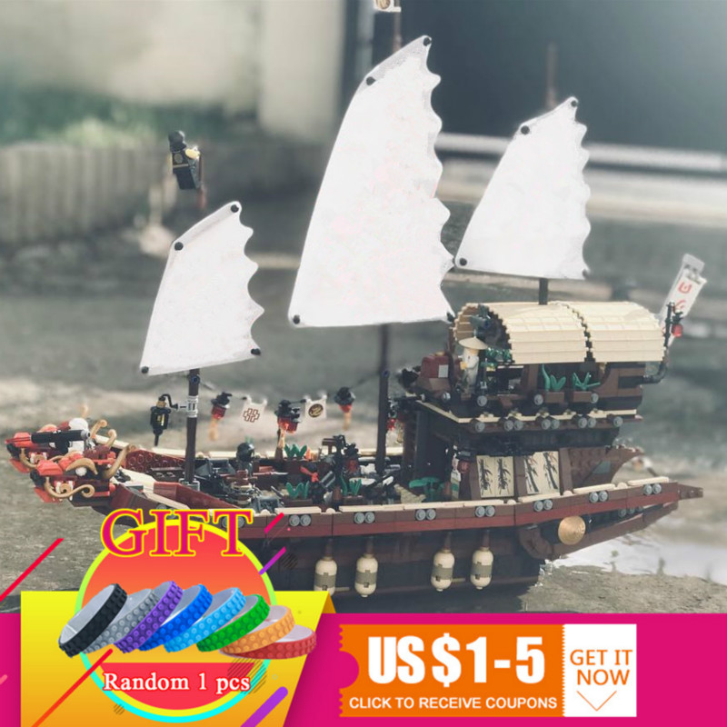 06057 2455pcs Ninja Movie Series Pirate Dragon Ship Final Fight of Destiny Bounty Set Building Blocks Compatible 70618 toy lepin lepin 06020 final flight of destiny s bounty 1325pcs ninja building blocks toys for children gifts compatible legoinglys 70738