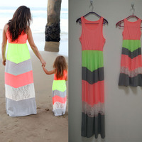 Summer Girl and Mother Daughter Sets dresses Matching Outfits A Line Dress Ankle Length ropa madre e hija mommy and me clothes Z