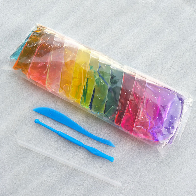 12 Color Crystal Mud Playdough Children Educational Toys Handgum Intelligent Plasticine Magic Play Crystal Clay