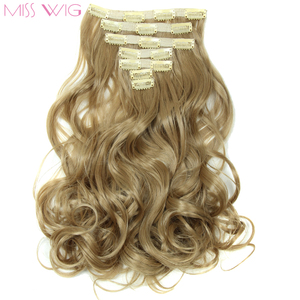 MISS WIG 20 Inchs 14 Colors Available 7pcs/set Hair Extension Wavy Hairstyle Synthetic HIgh Temperature Fiber