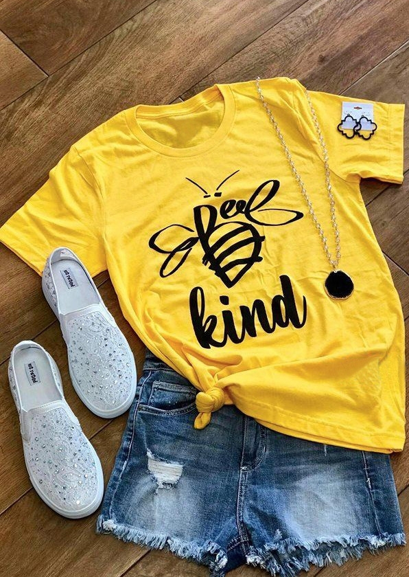 Frauen Bee Art Kurzarm T-Shirt Femme Soild graphic Tee Shirt ästhetischen 90s trendy freunde Gelb Top kawaii kleidung koreanische