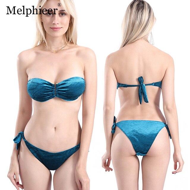 ea6eb1be63f2d Red Velvet Bikini Bandeau Biquinis 2019 Sexy Push Up Brazilian Mini Bikini  Set Bandage Swimwear Women Halter Velvet Swim Suit