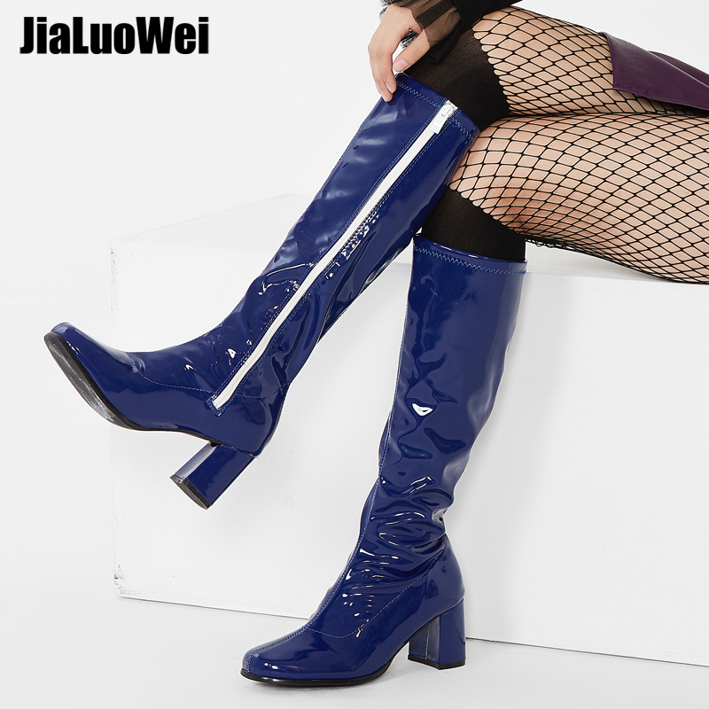 Jialuowei Go Go Stövlar Hög Chunky Heel Ladies Retro Skor Kvinnor Kvadrat-Toe Knee High Chelsea Stövlar För 60-talet 70-talet Fancy Dress Party