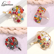 LEADERBEADS Womens Classic Multicolor Crystal Gold Alloy Love Heart Crown Geometric HairPins Ancient Small Hairclips Jewelry
