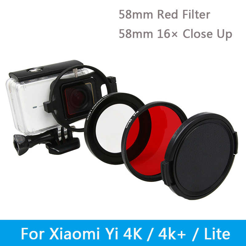 GzPuluz Lens Filters for Xiaomi Xiaoyi Yi II 4K Sport Action Camera Proffesional Foldable Waterproof Colorized Lens Filter with Hexangular Spanner Red Color : Red