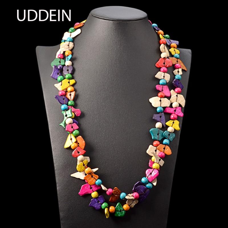 UDDEIN ethnic customs maxi necklace for women long necklace pendant handmade geometric wood jewelry wholesale vintage statement