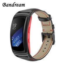 Bracelet de montre en cuir véritable pour Samsung Gear Fit2 R360 / Fit 2 Pro R365 Bracelet de montre de remplacement Bracelet en acier avec fermoir