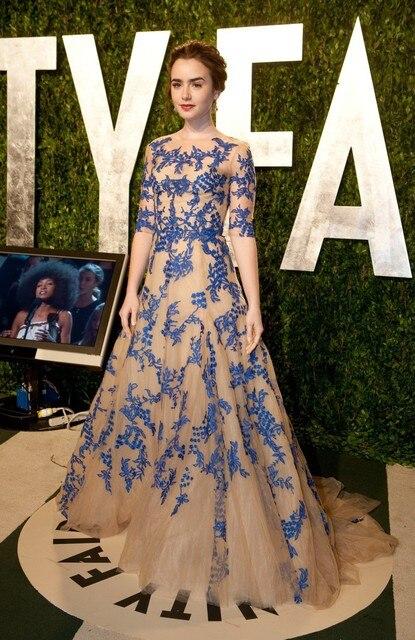 2016 Caliente Lily Collins Oscar Party Formal Vestidos de Noche de Encaje Gorgeous Celebrity Inspired Vestidos de Diseñador Medias Mangas