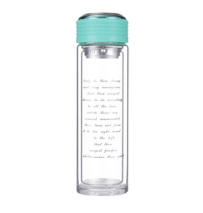 360 ML de Haute qualité à double Paroi En Verre Potable Bouteille Bouteille D eau  avec Filtre À Thé Infuseur De Protection Sac Cristal thé bouteille dans ... b6e3e5329c99
