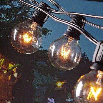 25Ft Globe String Lights with 25 G40 Bulbs- Vintage Patio Garden Light string for Deco,Outdoor lights string for Christmas Party vnl g40 string lights with 25 g40 clear globe bulbs listed for indoor outdoor vintage backyard wedding decoration string lights