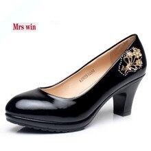 Señora Win marca zapatos de cuero genuino mujeres redondas zapatos de tacón  alto 2018 nueva primavera 164eedb8289d