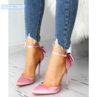 Pink/Red Silk Stain Bowknot Stilettos Wedding Shoes Woman 2019 Spring Autumn Pointed Toe Ankle Buckle Elegant High Heels Pumps