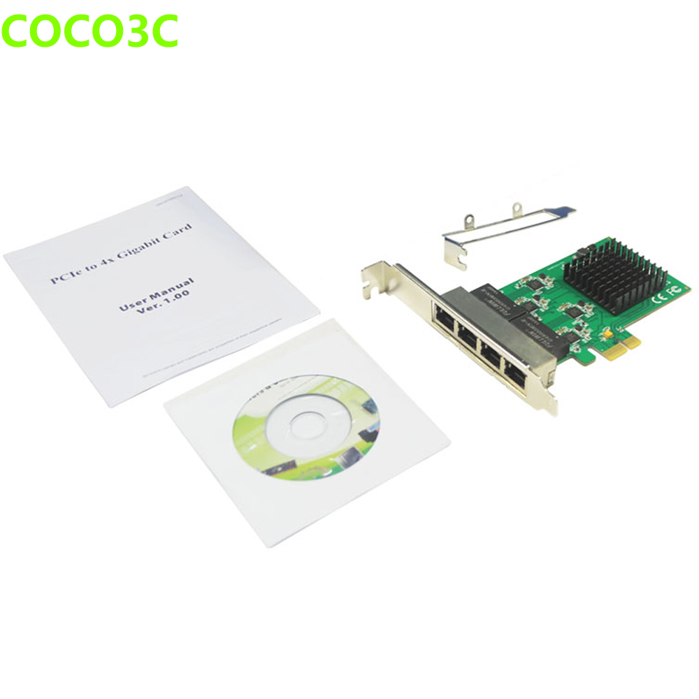 PCIe 4 Port 1Gbps Gigabit Ethernet Network Card PCI express to RJ-45 1000Mbps Lan Adapter Converter with Low Profile Bracket comfast full gigabit core gateway ac gateway controller mt7621 wifi project manager with 4 1000mbps wan lan port 880mhz cf ac200