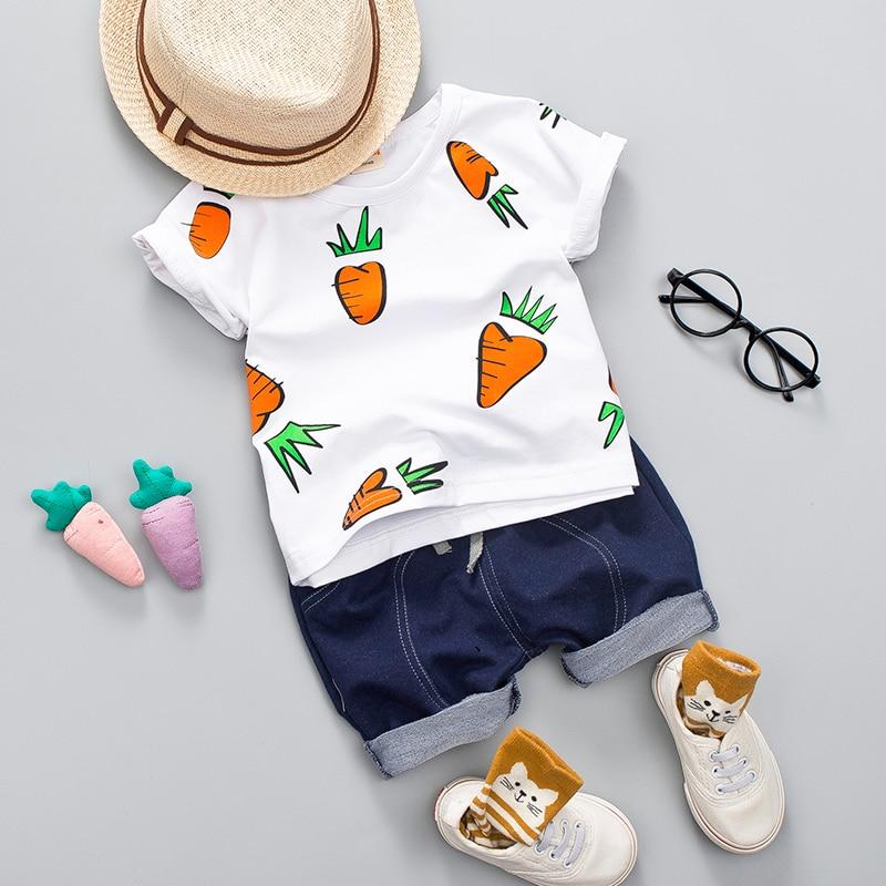 Для мальчиков летний комплект хлопковой одежды для девочек Для детей 1, 2, 3, 4 лет для малыша; на каждый день милые редьки печати рубашка одежд...