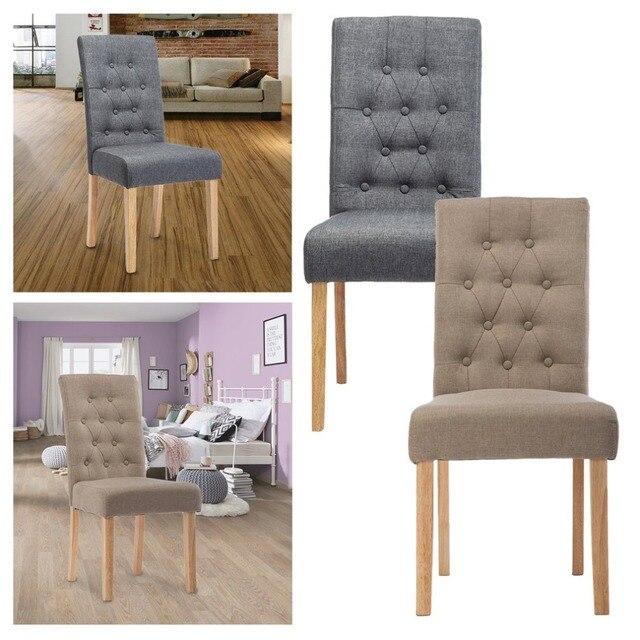 € 85.69 40% de DESCUENTO|Sillas de comedor modernas 2 piezas de tela de  lino Soild salón de madera silla acolchada asiento trasero alto taburete ...