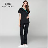 Medical Clothes Scrub suits Doctors Nurses Short Sleeve Uniforms Dentistry Oral Clinic Pet Doctor Workwear Overall New black