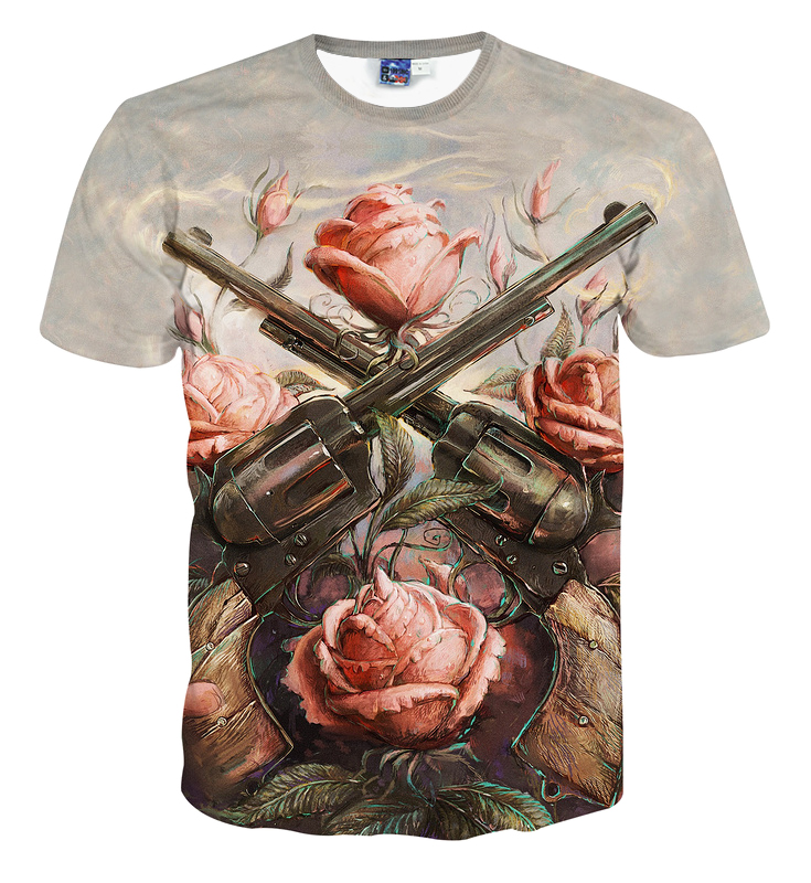 2018 New Summer Rose flowers and Gun 3D Printed Moonlight Men Cool Creative Lifelike Fashional Individuality T-shirt Male