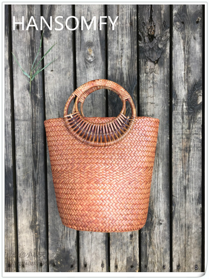 HANSOMFY |Fashion Hand Woven Bucket Round Rattan Straw Bags Bohemia Style Beach Bag Summer Handbag