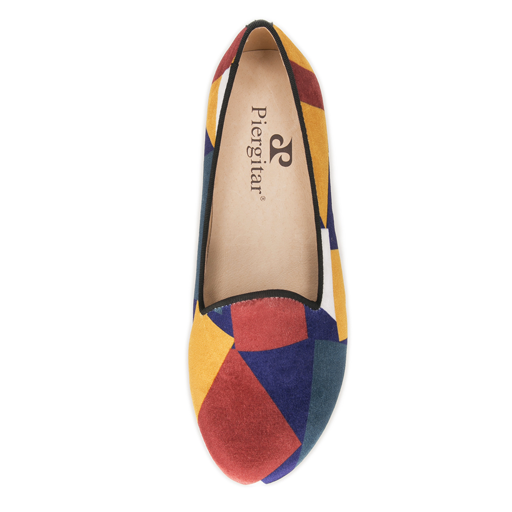 Handcraft fashion women velvet shoes with puzzle design colorful woman loafers casual flats  2