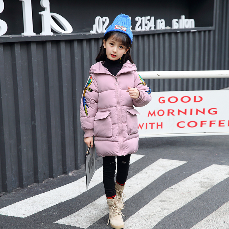 2017 Children Padded Winter New Kids Girls Down Cotton Thickened Long Coat Children's Winter Virgin Cotton Warm Jacket children winter coats jacket baby boys warm outerwear thickening outdoors kids snow proof coat parkas cotton padded clothes