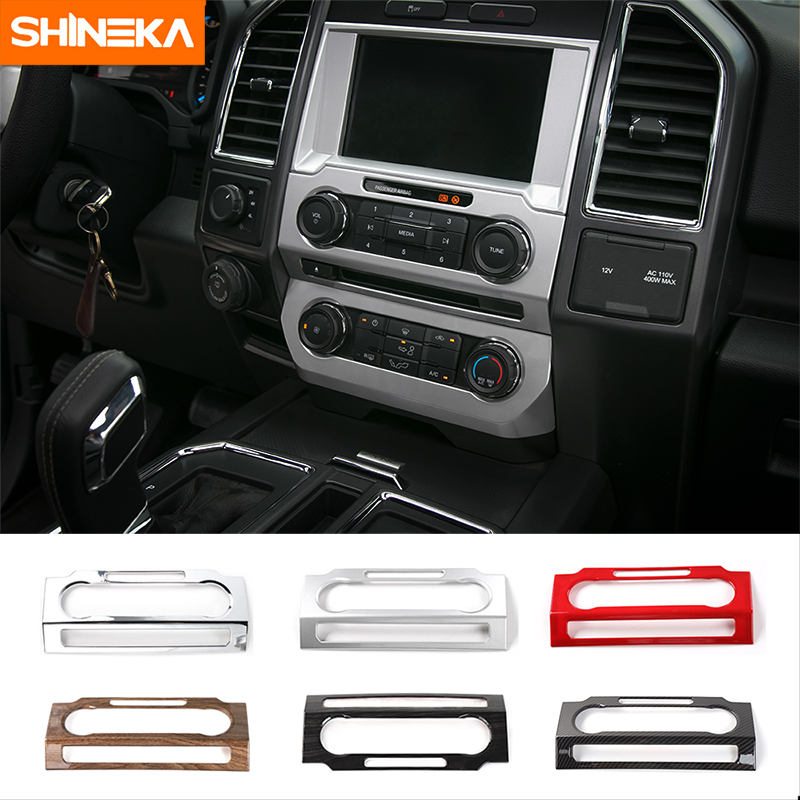 SHINEKA Car Styling Dashboard Panel Audio Switches Frame CD Media Voice Button Cover Trim for Ford F150 2015 in Interior Mouldings from Automobiles Motorcycles