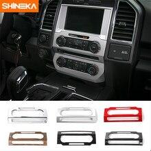 Shineka estilo do carro painel painel de interruptores áudio quadro cd mídia botão voz capa guarnição para ford f150 2015 +
