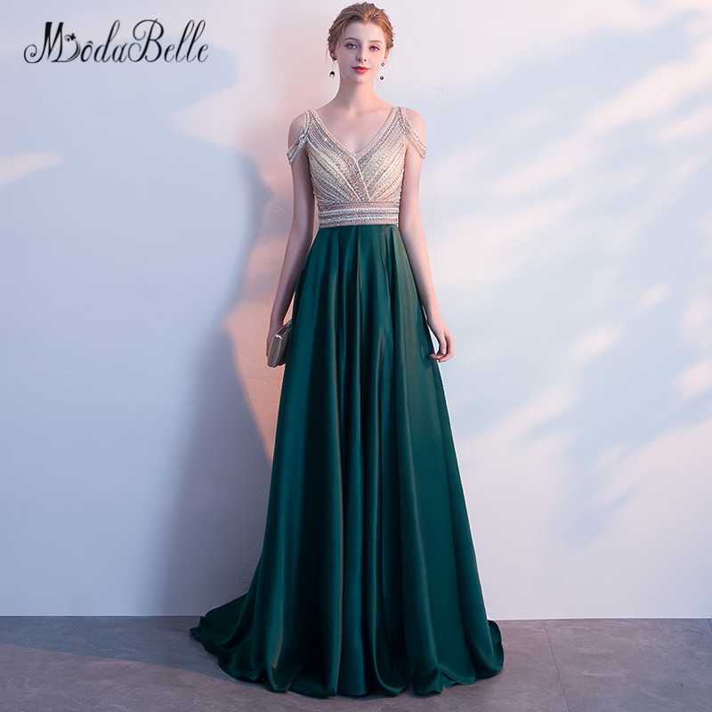 Modabelle 2018 Rhinestone Beaded Prom Dresses Dark Green Off The Shoulder Galajurken Lang Sexy Open Back Elegant Evening Dress