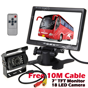 """7"""" TFT LCD Color HD Rear View Monitor Backup Cameras 18 IR LED Night Vision Waterproof Rearview Reverse Camera for Truck RV Bus"""
