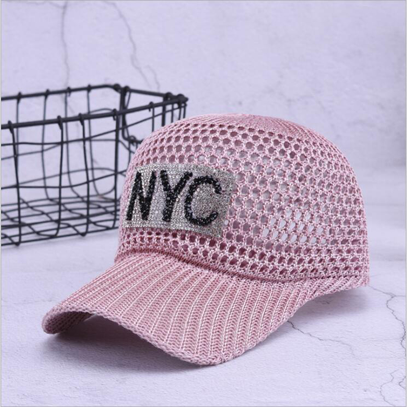 Women Summer Baseball Cap For Women <font><b>NYC</b></font> Rhinestone Breathable Mesh Hat Girls Snapback Hip Hop Fashion Female Caps Adjustable image
