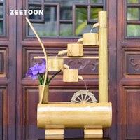 100 240 В Bamboo фэн шуй фонтан waterwheel рабочего микро пейзаж дом небольшой аквариум Lucky Домашний Декор свадебный подарок
