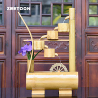 100 240V Bamboo Feng Shui Water Fountain Waterwheel Desktop Micro landscape House Small Fish Tank Lucky Home Decor Wedding Gift