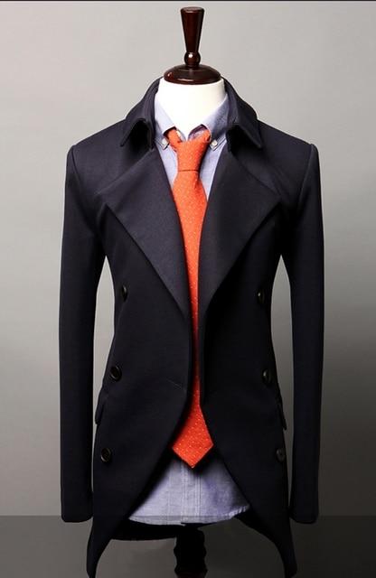 Горячая Продажа мужская одежда марка повседневная Двубортный длинный отрезок куртки мужская Мода Slim Fit Теплый костюм пальто куртки