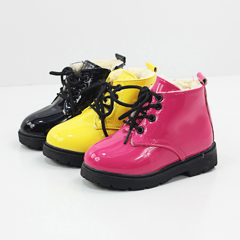 Winter Warm Children Shoes Snow Boots Rubber Fashion Sneakers PU Leather Waterproof Baby Boys Girls Boots Kids Shoes Autumn