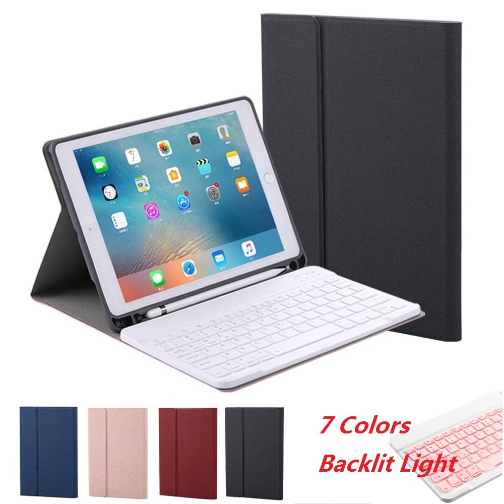 7 Colors Backlit Light Bluetooth keyboard Case For iPad Air 3 10.5 2019 Pro 10.5 Case Pencil Holder Cover For iPad 2017 2018 9.7