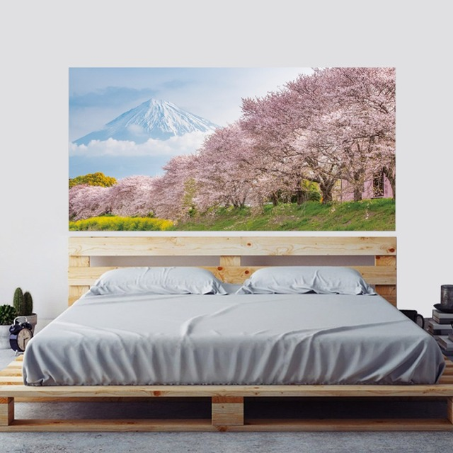 Japan Mountain Cherry Bossoms Tree Floral Scenery Wall Sticker Bedroom Decal Art Decor Self Adhesive Waterproof Home Mural Decor