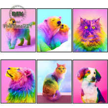 FineTime Full round 5D DIY diamond painting color dog diamond embroidery cross stitch animal gift decoration finetime full round 5d diy diamond painting color dog diamond embroidery cross stitch animal gift decoration