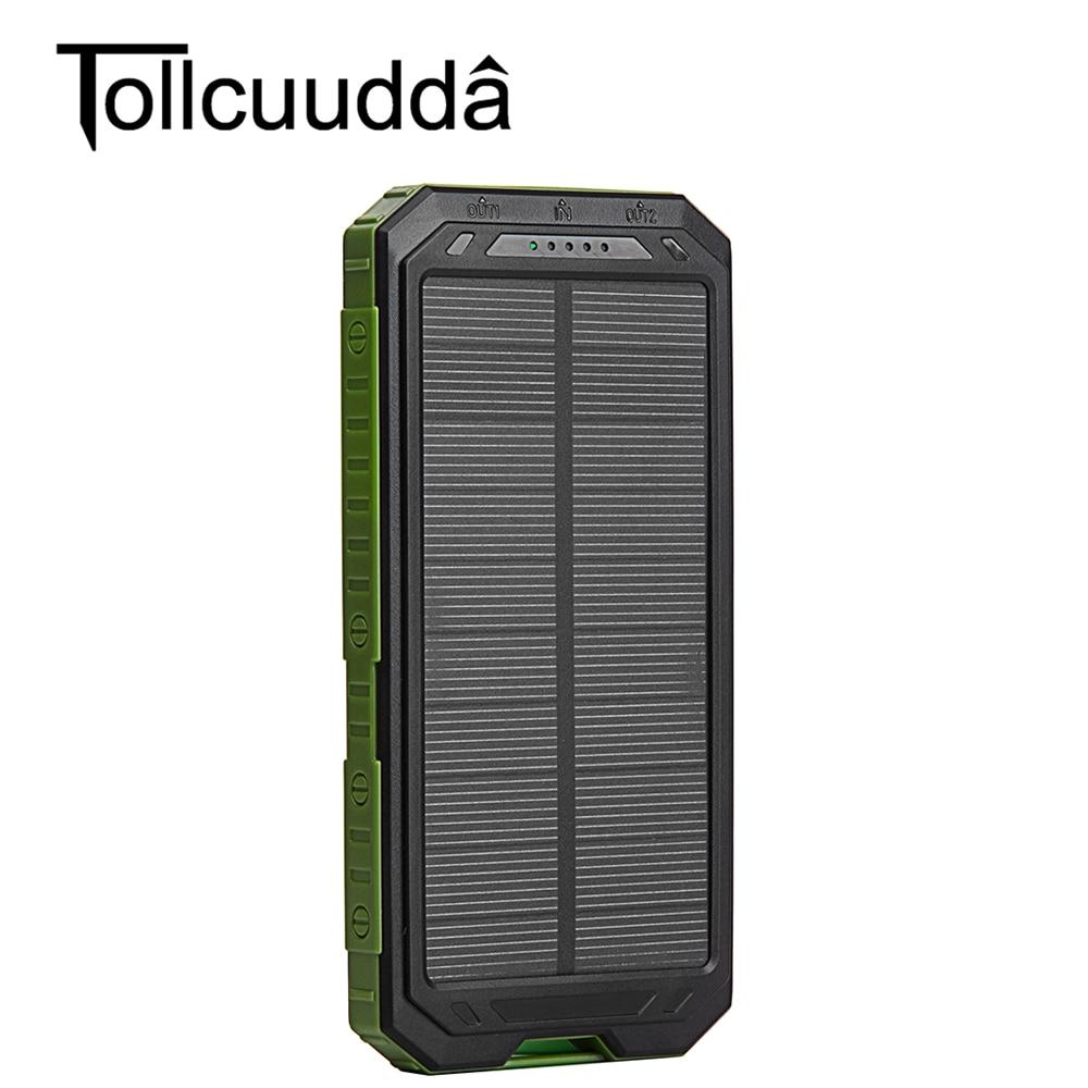 imágenes para Tollcuudda 10000 Mah Banco de la Energía Solar Cargador Solar Dual USB Banco de la Energía con la Luz LLEVADA para el iphone 6 Plus Teléfono