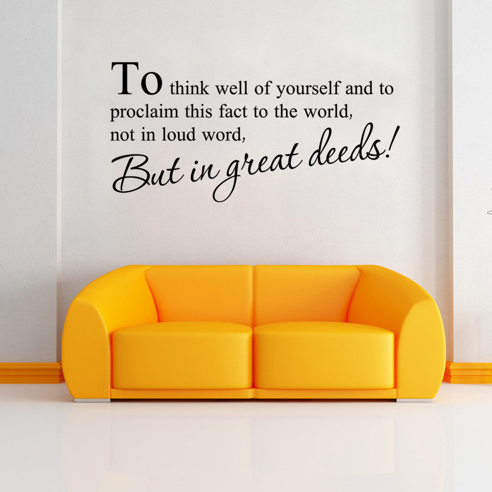 Bit in great deeds Wall Stickers English Wall Quotes Vinyl Home Decor Decals Letter decorative