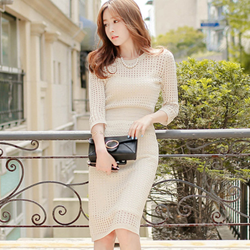 Spring Hollow out Knitted Cotton Dress Women O neck OL Sweater knitting Dress Elegant Pack Hip