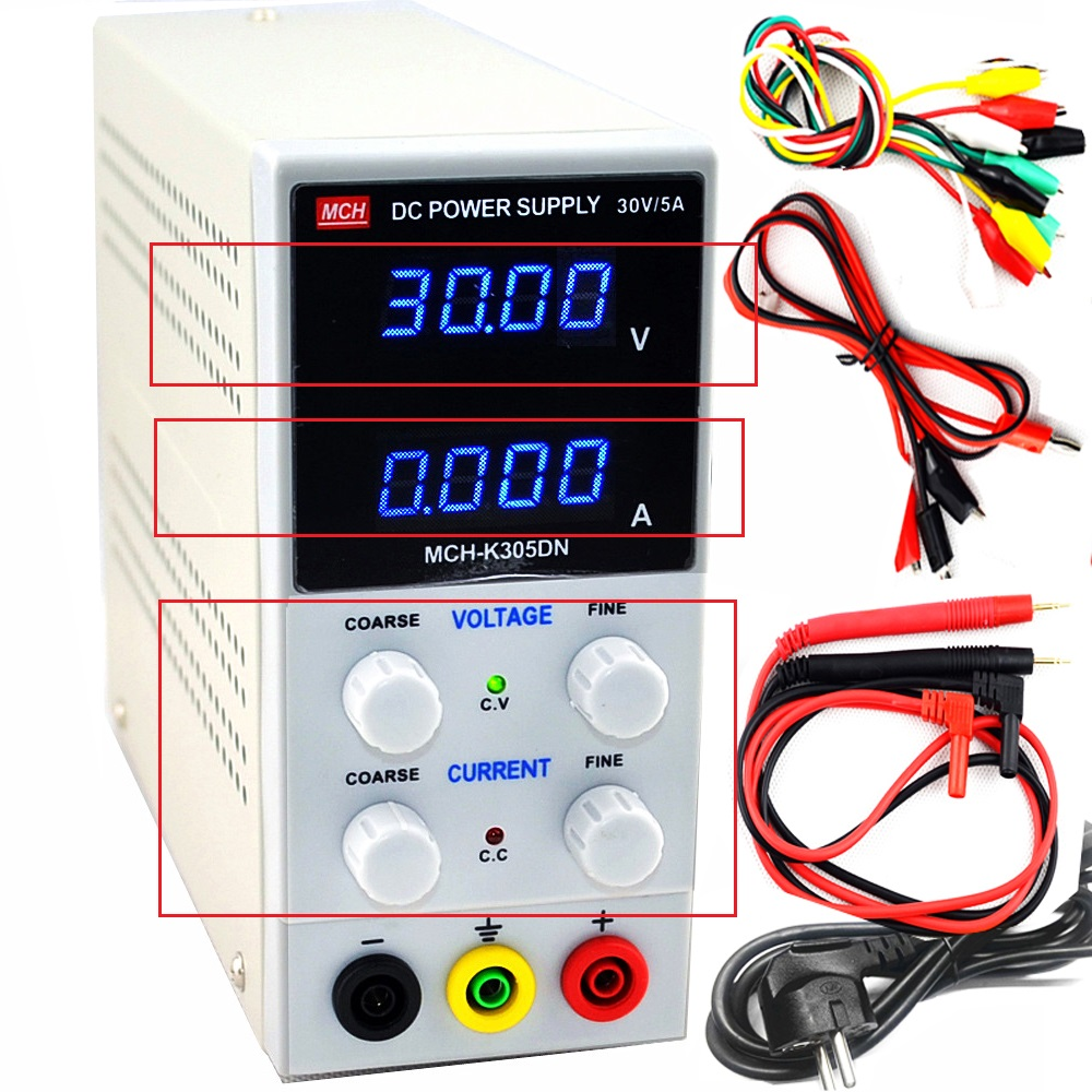 New Design <font><b>MCH</b></font>-<font><b>K305D</b></font> Mini Digital adjustable Switching Regulated Adjustable DC Power Supply SMPS Single Channel 30V 5A Variable image