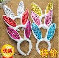 free ship 10 pcs/ lot Kids adult rabbit ear sequins bunny ears hairbands costume birthday party headband for children & adult